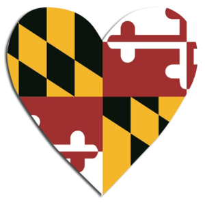 The Backyard Naturalist has Maryland flag heart decals, magnets and much more for Marylanders.