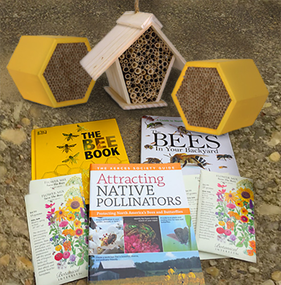The Backyard Naturalist has tips for attracting native pollinators to your yard. Pictured are a few of our favorite books and Mason Bee Houses