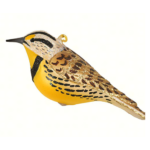 The Backyard Naturalist has Cobane Glass BIrd Holiday Ornament, Meadowlark