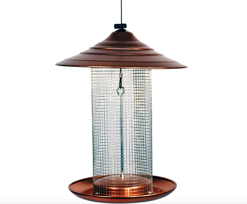 The Backyard Naturalist sells Woodlink's Green Steel Magnum Sunflower Feeder, as well as other mesh screen type feeders. Brushed copper top and  tray.