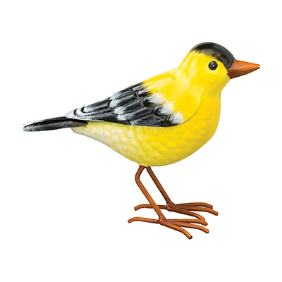 The Backyard Naturalist has metal indoor or outdoor garden statuary, like this life-size metal replica of an American Goldfinch.