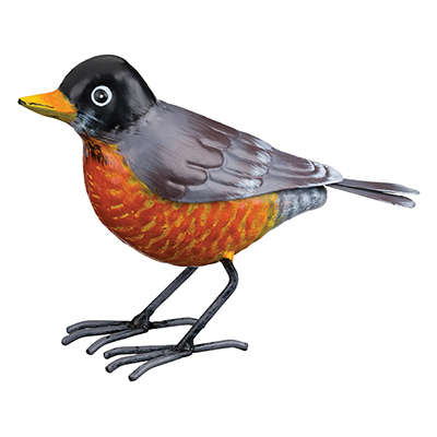 The Backyard Naturalist has metal indoor or outdoor garden statuary, like this life-size metal replica of an American Robin.