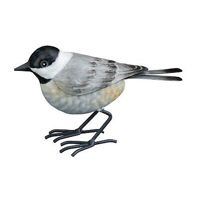 The Backyard Naturalist has metal indoor or outdoor garden statuary, like this life-size metal replica of an Black-capped Chickadee.