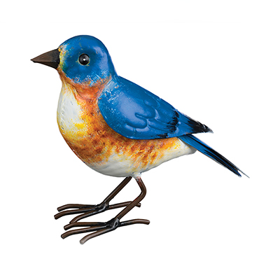 The Backyard Naturalist has metal indoor or outdoor garden statuary, like this life-size metal replica of an Eastern Bluebird.