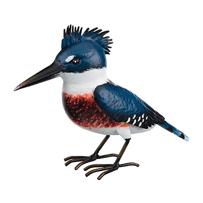 The Backyard Naturalist has metal indoor or outdoor garden statuary, like this life-size metal replica of an American Kingfisher.