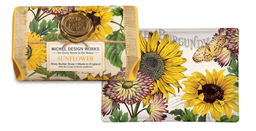 The Backyard Naturalist has Michel Design Works New for 2020 'Sunflower' scented soap, lotion and candles