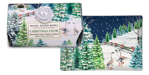 The Backyard Naturalist has Michel Design Works Holiday 2020 'Christmas Snow' scented soap and soap dish, also, foaming soap