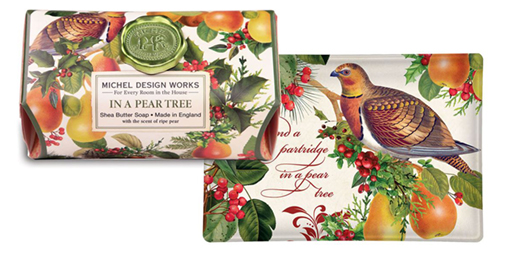 The Backyard Naturalist has Michel Design Works Holiday 2020 'In a Pear Tree' scented soaps, lotion and candles
