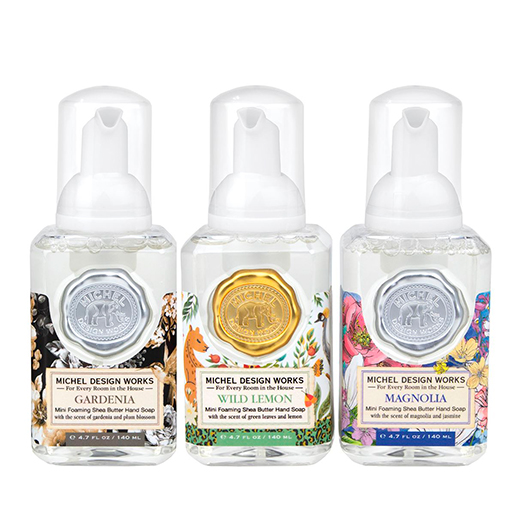 The Backyard Naturalist has updated Michel Design Works collection with the trio of foamers in Magnolia, Gardenia and Wild Lemon foaming hand soap.