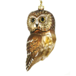 The Backyard Naturalist has Cobane Glass BIrd Holiday Ornament, Northern Saw Whet Owl