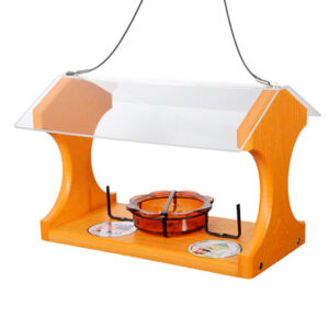 The Backyard Naturalist loves Baltimore Orioles! We stock a variety of Oriole fruit and jelly feeders, like this recycled Going Green hopper style platform feeder.