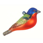 The Backyard Naturalist has Cobane Glass BIrd Holiday Ornament, Painted Bunting