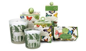The Backyard Naturalist has 'Papillon' scented soap, lotion and candles. Michel Design Works new product line for Spring 2018.