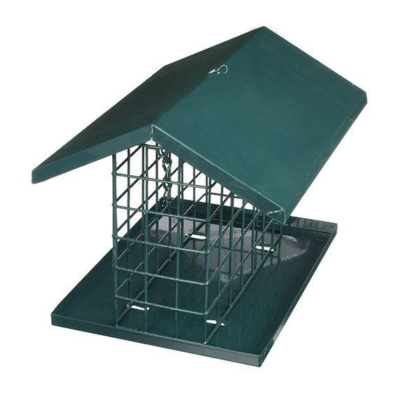 The Backyard Naturalist stocks C&S Wire Cage Platform and Roof Hanging Suet Feeder.