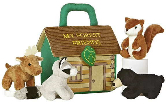 The Backyard Naturalist has 'Baby Talk' collection in stock. Plush animals and a plush 'home' . Soft and cuddly baby toys! This one is 'Forest Friends'.