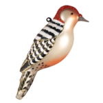 The Backyard Naturalist has Cobane Glass BIrd Holiday Ornament, Red-bellied Woodpecker