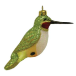 The Backyard Naturalist has Cobane Glass BIrd Holiday Ornament, Ruby-throated Hummingbird Male