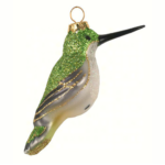 The Backyard Naturalist has Cobane Glass BIrd Holiday Ornament, Ruby-throated Hummingbird Female