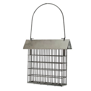 The Backyard Naturalist has many options for suet and seed cake feeders, like this one with a Rustic Farmhouse Galvanized Steel Roof and cage.