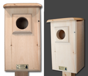 The Backyard Naturalist carries the Conservation nest boxes, like this one for Saw Whet / Screech Owls.
