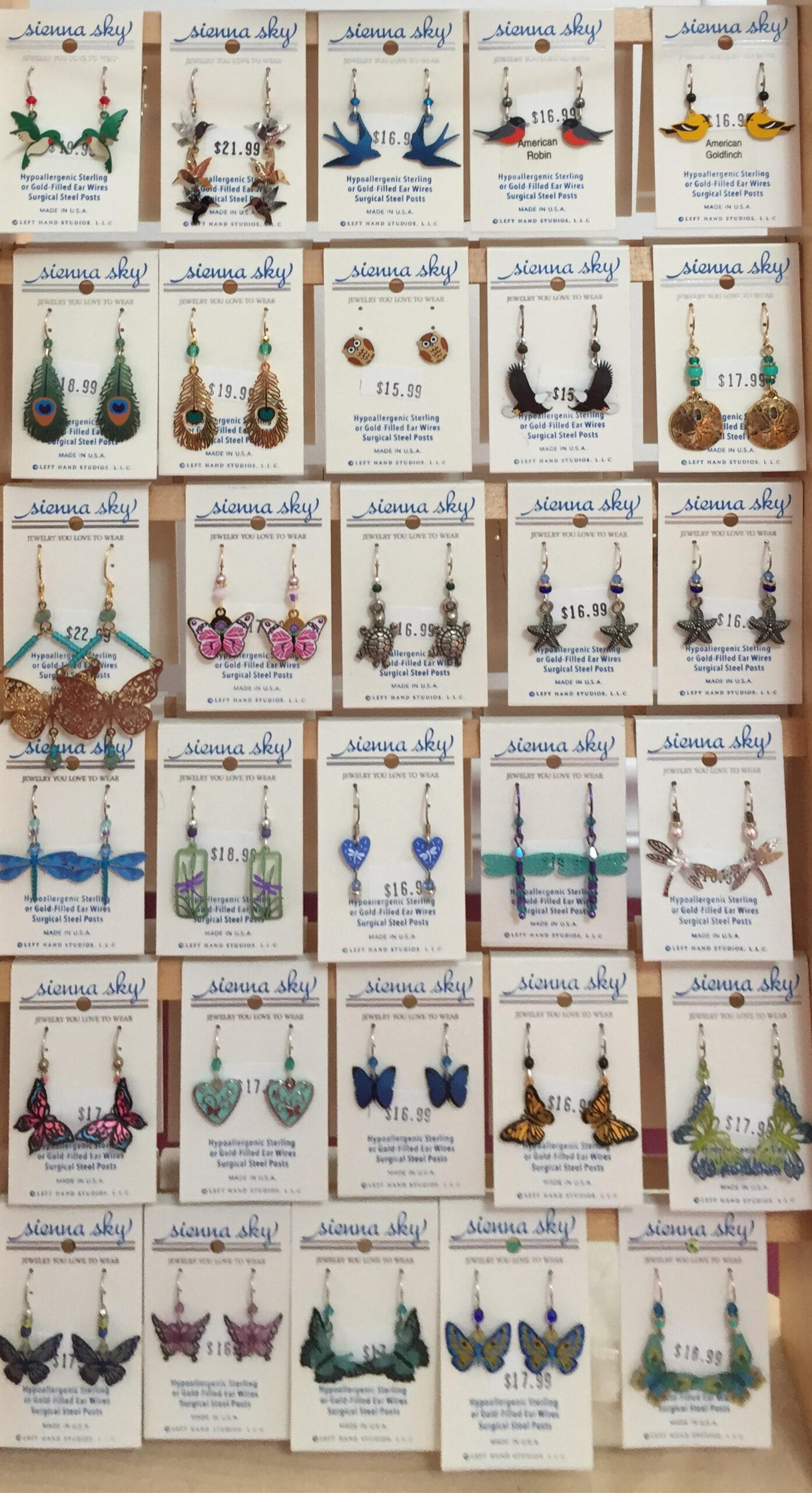 The Backyard Naturalist has Sienna Sky earrings for 2020 in stock.
