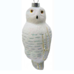 The Backyard Naturalist has Cobane Glass BIrd Holiday Ornament, Snowy Owl