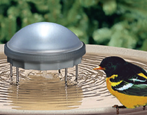 The Backyard Naturalist recommends adding a Water Wiggler to your bird bath, like this solar-powered wiggler.