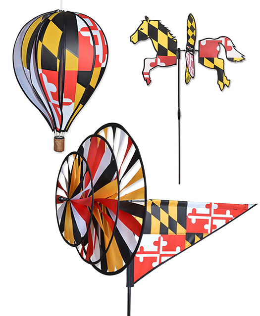 The Backyard Naturalist has Maryland flag themed wind spinners and whirligigs, including a petite horse, hot air balloon and deluxe triple spinner.