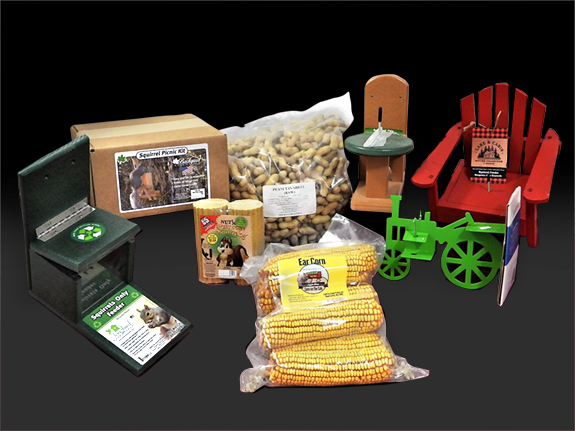 The Backyard Naturalist stocks Squirrel Feeders and Food, including novelty Adirondack chair, tractor and classic feeders. Food includes corn on the cob and nuts squirrels love.
