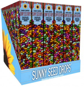 The Backyard Naturalist loves Sunny Seed Drops - chocolate-covered sunflower seeds in a tube. Pictured in close up, all natural flavors and colors.