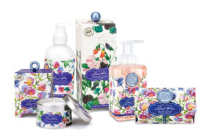 The Backyard Naturalist has 'Sweet Pea' scented soap, lotion and candles. Michel Design Works new product line for Spring 2018.