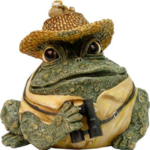The Backyard Naturalist has Toad Hollow's garden statuary Toads, and very appropriately this character: 'The Bird Watcher'.