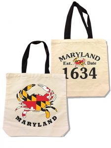 The Backyard Naturalist's Maryland Crab canvas tote bags.