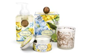 The Backyard Naturalist has 'Tranquility' scented soap, lotion and candles. Michel Design Works new product line for Spring 2018.