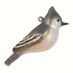 The Backyard Naturalist has Cobane Glass BIrd Holiday Ornament, Tufted Titmouse