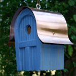 The Backyard Naturalist stocks biologically species correct bird houses in a variety of styles, like the stylish, copper-roofed Twitter Junction in blue. Other colors available.