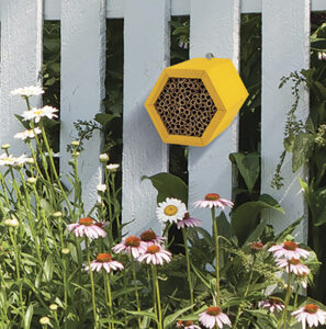 The Backyard Naturalist has the Honey Comb  Modular Mason Bee House or Lodge. Hexagonal Wood frame with fiberboard tubes that are replaceable.