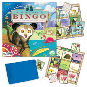 The Backyard Naturalist's Bingo game features lively illustrations and fun facts about natural history and earth science.