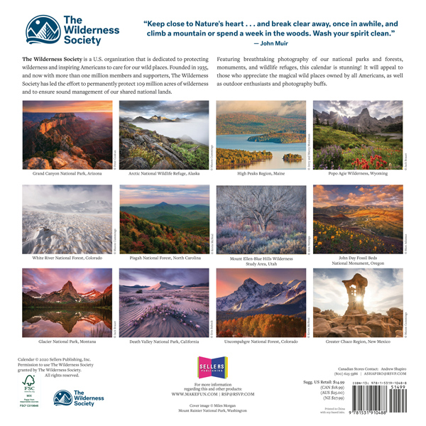 The Backyard Naturalist has The Wilderness Society 2021 Wall Calendar in stock - back view