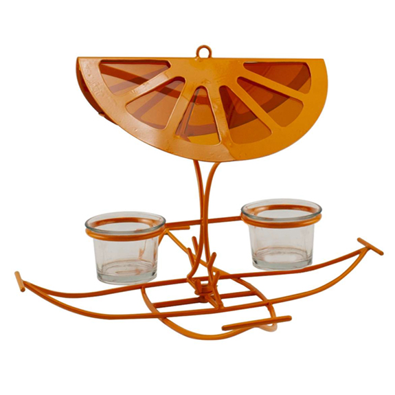 The Backyard Naturalist has a unique Oriole feeder: Clever graphic 'orange slice' roof, orange powder coated metal feeder offers Orioles options! Orange halves, jelly, mealworms.. or all three at once!