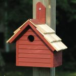 The Backyard Naturalist stocks biologically species correct bird houses for Wrens in a variety of styles, like this one, The Cape Cod Wren House in red. Other colors available.