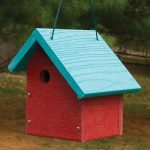 The Backyard Naturalist stocks biologically species correct bird houses for Wrens in a variety of styles, like this red one, with a blue roof.