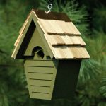 The Backyard Naturalist stocks biologically species correct bird houses for Wrens in a variety of styles, like this one, The Wren In The Wind House, in several colors.