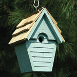 The Backyard Naturalist has many bird house styles available, like this Wren House in Blue Eggshell.