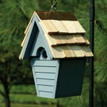 The Backyard Naturalist has many bird house styles available, like this Wren House in Blue Pickle.