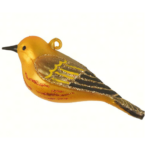 The Backyard Naturalist has Cobane Glass BIrd Holiday Ornament, Yellow Warbler