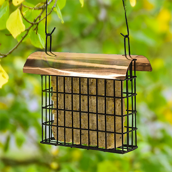 The Backyard Naturalist stocks suet cage feeders, like this one with a copper roof that holds one suet cake.