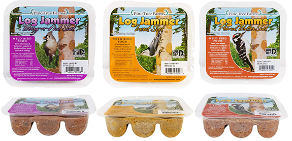 The Backyard Naturalist stocks Log Jammers for feeding in hanging Suet Log feeders, in these three flavors: Berry and Nut, Insect and Peanut Butter varieties.