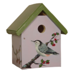 The Backyard Naturalist has hand painted bird houses, hand made and painted in Lehigh Valley, PA. This one is called 'Nuthatch'.