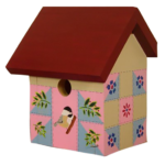 The Backyard Naturalist has hand painted bird houses, hand made and painted in Lehigh Valley, PA. This one is called 'Quilt House'.